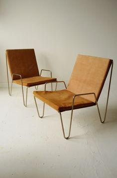 "Pair Verner Panton Bachelor suede armchairs 20 15⁄32""W x 29 9⁄64""D x 29 9⁄64""OAH x  seat H = 14 61⁄64"""