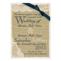 Antique White Lace Country Wedding Navy Personalized Invitation