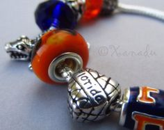 Florida Gators European Charm Bracelet With Blue And Orange University Of Florida Football Team Logo, Gator Mascots And Florida Heart Beads | Pinned by SECfootball101.com