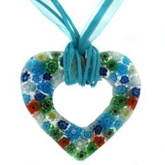 """Heart Necklace Unique Glass Blue Green Orange Silk Cord 16"""" Gift Box SALE by Bucasi Bucasi. $12.95. Heart Glass Necklace Hung on Silk Ribbon Cord. Necklace 16"""" Silk Ribbon Cord. Fun and Funky Heart Necklace. Necklace Glass in Deep Hues of Blue, Green Shades. Presented in Gift Bag"""