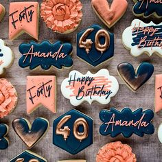 Iced Cookies, Cut Out Cookies, Royal Icing Cookies, Fun Cookies, Holiday Cookies, Sugar Cookies, Forty Birthday, 40th Birthday Parties, Birthday Fun