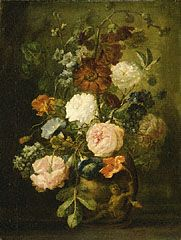 Vase of Flowers, mid 1700's dutch painting at The Getty.