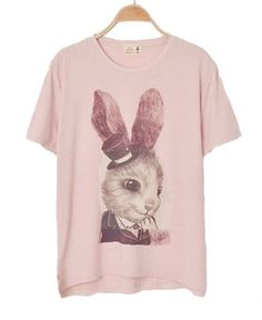 #Pink #Rabbit #TShirt Save this image and add it to your closet! http://wishi.me/?utm_source=Items_medium=Pinterest_campaign=StyleIt