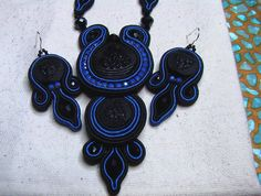 set of earrings and necklace (soutache)