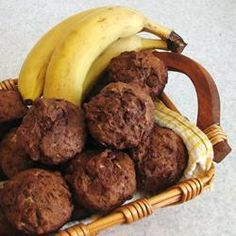 Chocolate chips and cocoa team well with banana in these lovely muffins that are made even more delicious with the addition of vanilla. Cocoa, Muffin Recipes, Scone Recipes, Allrecipes, Banana Chocolate Chip Muffins, Scones, Sausage, Chips, Vegetarian