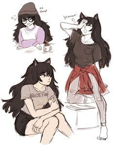 RWBY - Blake Belladonna sketches by dashingicecream.