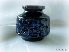 Vintage East German Haldensleben vase 3048 in cobalt blue. Mid Century. by Cherryforest on Etsy