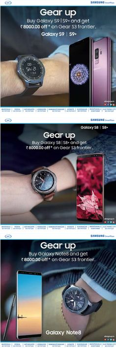 Get upto Rs.8000 Off* on Gear S3 Frontier on buying below Samsung #Smartphones Find your nearest store Rush to our nearest #Samsung Smart Plaza today #GearS3Frontier Gear S3 Frontier, Postcard Template, Mobile Accessories, Galaxy S8, Finding Yourself, Smartphone, Samsung, Store, Larger