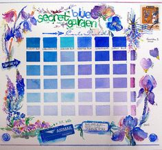blue watercolor chart, so beautiful . some of the lighter violets reminds me of my hydrangeas! Watercolor Mixing, Watercolor And Ink, Watercolour Painting, Painting & Drawing, Watercolours, Watercolour Tutorials, Watercolor Techniques, Art Techniques, Color Mixing Chart