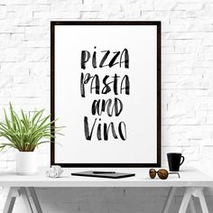 Art Digital Print Poster Pizza Pasta and Vino by LifeAndStylePrint