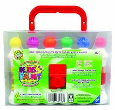 Crafty Dab Kids Paint - 6 Pack Carry Case. No mess. No leaks. Washable. Non-toxic. Lasts 4 times longer than jar paints. Have their own carry-case. And their scented! C'mon mom! What could be better?