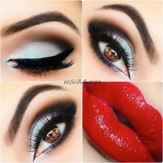 light blue lid | dark, smoky brown on outer brow bone and under lower lid | white inner corner | bright red lips