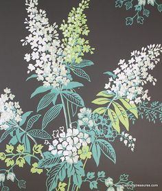 1950s Vintage Wallpaper Black with White and Green Lilacs | eBay