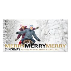 Merry Merry Merry Christmas Holiday Photo Card by Orabella Prints