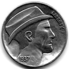 JON DAKE - MAN IN HAT - 1937 BUFFALO PROFILE Hobo Nickel, Hats For Men, Buffalo, Classic Style, Coins, Carving, Profile, Artist, User Profile