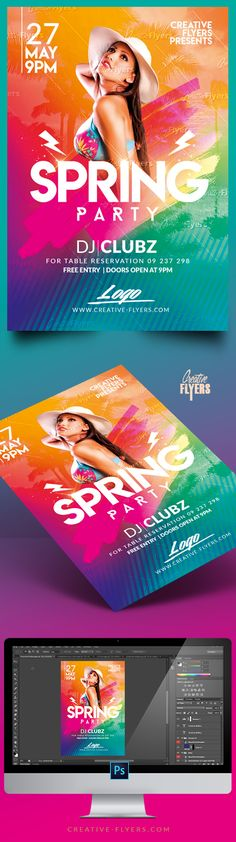 """Creative Spring Break Flyer Psd Templates"""" Perfect to promote your Spring Party ! Enjoy downloading """"Flyer Psd templates by CreativeFlyers"""". #spring #flyer #templates #photoshop #posters #creative #flyers #creativeflyers"""