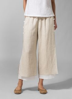 ONE OF MY FAVORITES (Front view)  Linen Double-Layer Cropped Pants