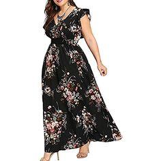 30961e21525cbc MRULIC Freizeitkleider Rückenfreies Kleid Damen Midi Kleider V-Ausschnitt  Wrap Floral Partykleid Damen Gedruckt Asymmetrische
