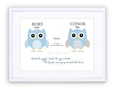 Twin Owls Print Personalised Prints, Owl Print, New Beginnings, Owls, Framed Prints, In This Moment, Owl