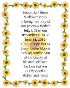 Please plant these seed's in HONOR of __________________ Funeral Spray Flowers, Funeral Sprays, Memorial Plants, Memorial Flowers, Memorial Cards, Funeral Memorial, Memorial Ideas, Funeral Planning, Event Planning