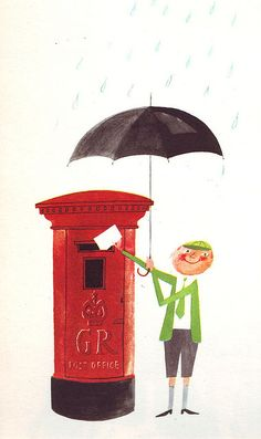 Illustration of a boy with an umbrella in the rain mailing a letter from This is London by Miroslav Sasek Umbrella Art, Under My Umbrella, London Illustration, Children's Book Illustration, Parasols, Singing In The Rain, Guache, Modern Graphic Design, Mail Art