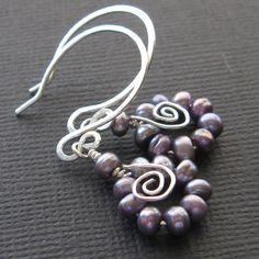 Sterling silver lavender pearl hoop earrings petite spiral