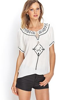 Embroidered Peasant Top | FOREVER21 - 2000124912