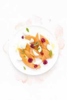 melon raspberries mozzarella & basil