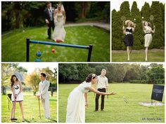 Having an outdoor wedding? Have you considered creating lawn games for your guests? Who says lawn games are just meant for summer time pi. Chic Wedding, Wedding Trends, Wedding Reception, Rustic Wedding, Dream Wedding, Wedding Ideas, Wedding Stuff, Wedding Decor, Quirky Wedding