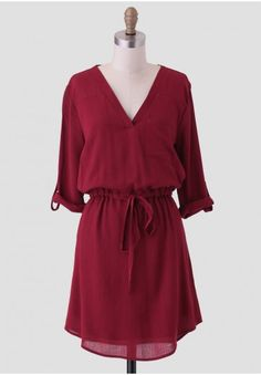Jenny Drawstring Dress In Burgundy. I want to pair this with some ridding boots and textured tights!