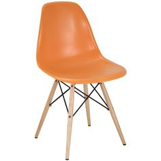 Modway Plastic Side Chair in Orange with Wooden Base *** You can find more details by visiting the image link.Note:It is affiliate link to Amazon.