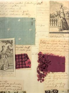 Barbara Johnson (1738-1825) kept a meticulous record of the dresses that were made for her, attaching swatches of fabric and including images from ladies magazines.