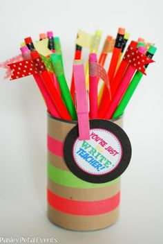 """Back to School Teacher Gift-add cap erasers and the saying """"There's no mistake about it."""""""