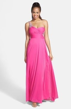 Hailey by Adrianna Papell Embellished One-Shoulder Chiffon Gown available at #Nordstrom. This is so pretty, it is 160 at Nordstrom.