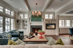 House of Turquoise- built-ins around fireplace Home Living Room, House, Family Room, Home, Room Remodeling, Fireplace Bookcase, Built In Around Fireplace, Farmhouse Fireplace Decor, Room Layout