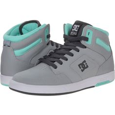 DC Nyjah High Women's Skate Shoes, Gray (57 CAD) ❤ liked on Polyvore featuring shoes, sneakers, grey, skate shoes high tops, cushioned shoes, high top shoes, grey shoes and gray sneakers