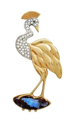 A lovely crane pin by artist Hanna Cook-Wallace with diamonds and Australian Boulder Opal. Bird Jewelry, Opal Jewelry, Silver Jewelry, My Birthstone, Gold Platinum, Bird Art, Beautiful Birds, Diamonds, Bling