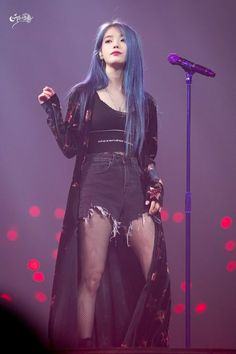 Am in love with her blue hair 😍 on We Heart It Stage Outfits, Kpop Outfits, Iu Fashion, Korean Fashion, Korean Girl, Asian Girl, Pelo Color Azul, Iu Hair, Chica Cool