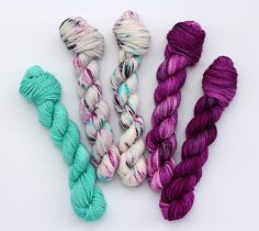 So Faded MINI SET hand dyed yarn gray-blue-purple Blue Grey, Gray, Hand Dyed Yarn, All The Colors, Stitch, Purple, Mini, Projects, Log Projects