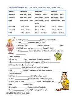 Adjektivdeklination French Lessons, Spanish Lessons, English Lessons, German Grammar, German Words, Learn German, Learn French, German Resources, French For Beginners