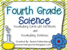 4th Grade Science Vocabulary Cards and Dominoes!