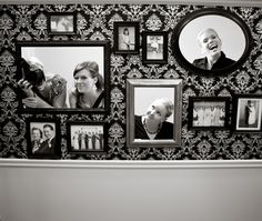 photobooth idea - incorporate family pics and cut out larger frames for guests to pose in