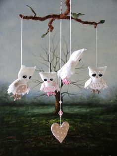 Nursery Mobile - Feathery Owl - Pink and Fawn