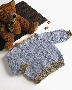 Knitted baby sweater blue baby boys sweater / size by MiaPiccina, $30.00