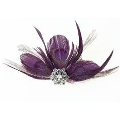 Feather Hair Clip .. could pin on a white shoe for a wedding accessory..