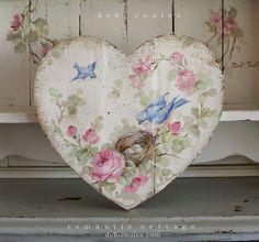 Shabby Chic Romantic Bluebird and Roses Heart - Debi Coules Romantic Art