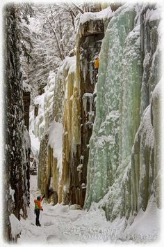 The Flume, Franconia Notch State Park, New Hampshire ( I heard they rebuild the walkways every year due to this ice buildup on the walls of the notch)