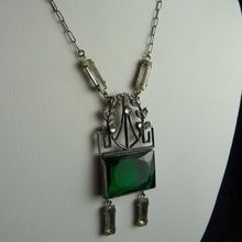 Edwardian Necklace with Green Glass Stone and Rhinestone Baguettes
