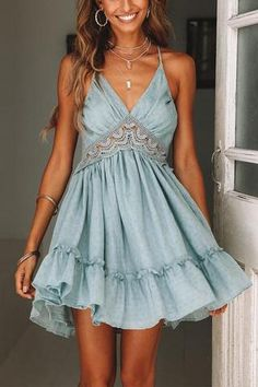 Deep V Neck Embroidery Lace Tiered Ruffle Dress Open Back, SUMMER OUTFİTS, teal ruffle flowy dress lace embroidery patchwork v neck cami short dress tie back tiered ruffle mini dress backless Hoco Dresses, Homecoming Dresses, Cute Dresses, Casual Dresses, Prom, Casual Outfits, Beach Dresses, Flower Dresses, Baby Blue Homecoming Dress