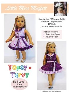 Little Miss Muffett Topsy Turvy Doll Clothes Pattern 18 inch American Girl Dolls | Pixie Faire